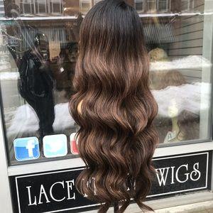 Ash brown ombré Long Deep Wave Wig Lacefront Wig